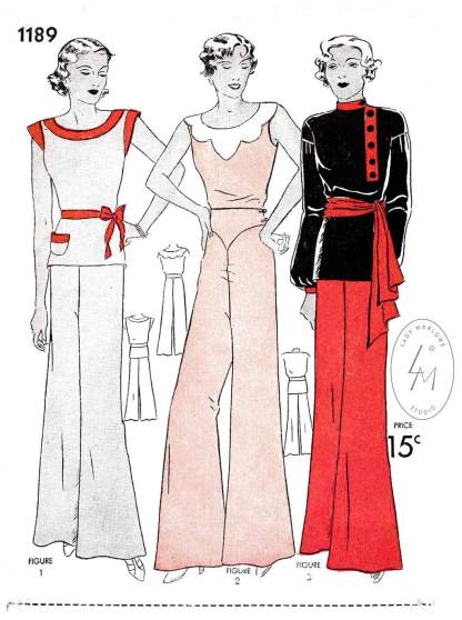 1930s beachwear pajamas jumpsuit vintage pattern